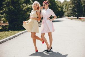 Retro girls in the park of Blaine, Washington