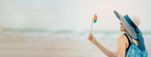 Woman enjoying beach relaxing joyfully at Blaine
