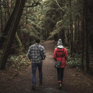 couple enjoying the forest in Blaine, WA