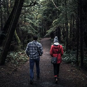 couple enjoying a trail in blaine