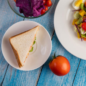 Salad with sandwiches at Blaine, WA restaurants