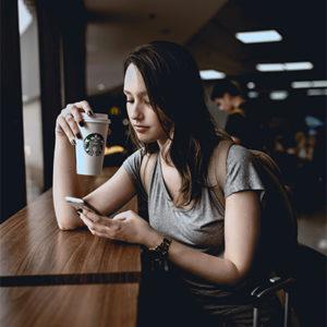 Drinking coffee in Starbucks Blaine