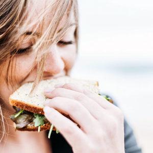 girl eating subway food