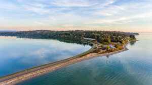 aerial view of semiahmoo parkway with drayton harbor in the background