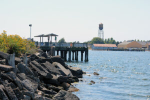 Jorgensen Park Pier with water tower in the background