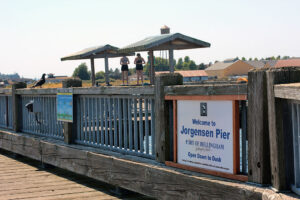 Jorgensen Pier sign port of Bellingham in Blaine, WA