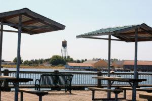 Jorgensen Pier with water tower in blaine washington