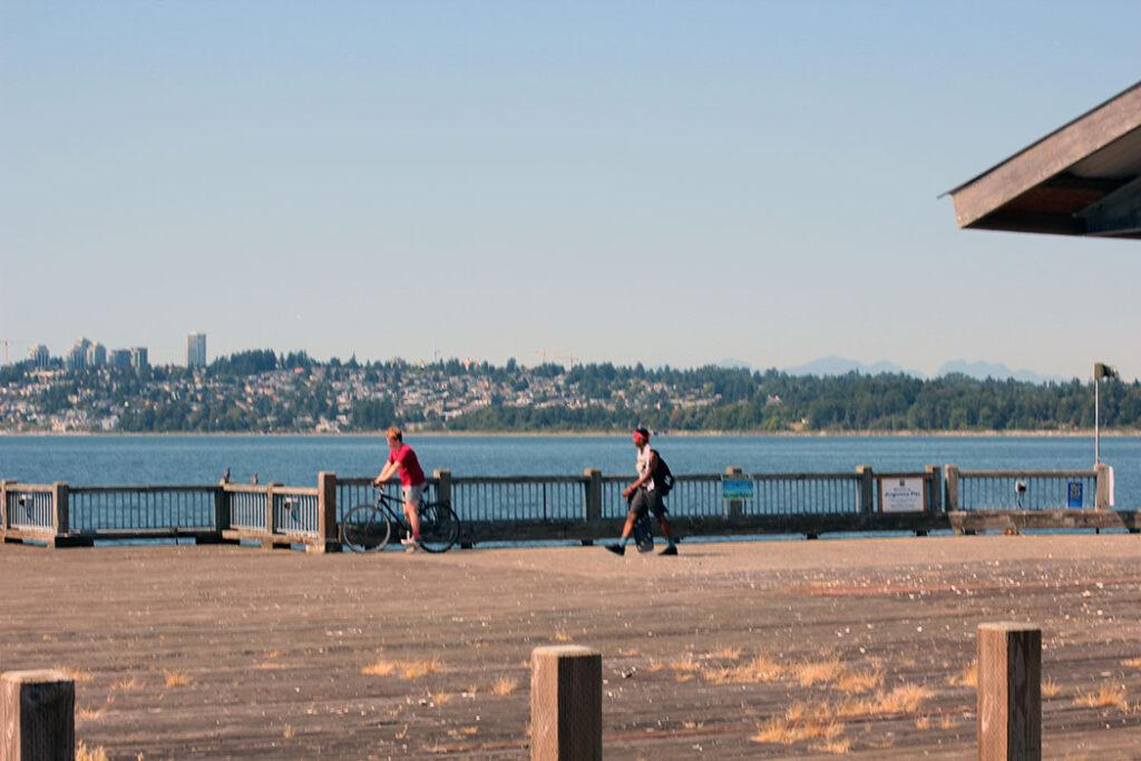 biking on the Jorgensen Pier