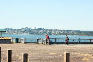 People Walking the Jorgensen Pier in Blaine