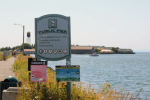 public pier in Blaine Sign with Blaine Pier in the background