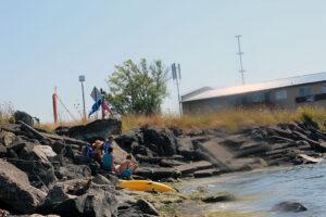 family enjoying the ocean in Blaine