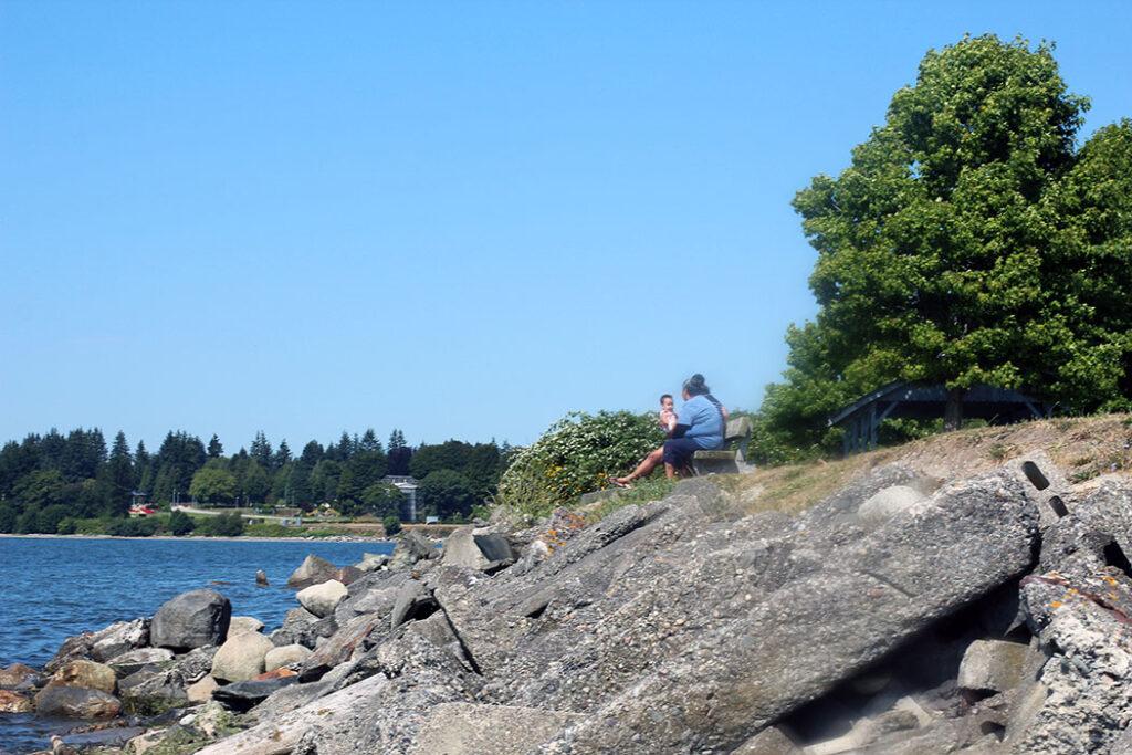family enjoying the view of the ocean in Blaine, washington