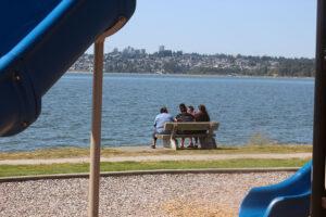 family enjoying the sunny day in Blaine, Washington