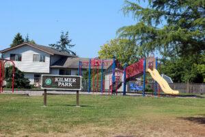Kilmer Park playground with signage