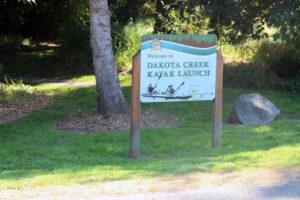 Dakota Creek Kayak Launch signage