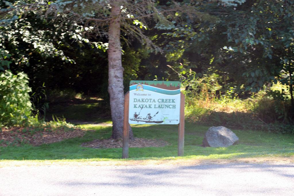 Dakota Creek Kayak Launch sign in blaine