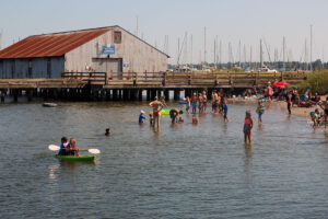 People swimming at Blaine's Semiahmoo Spit in Whatcom County
