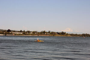 Kayaker in Blaine, Washington with Mt. Baker in the Background