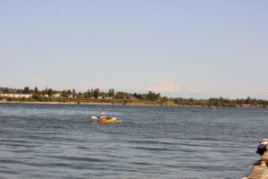 Kayaker at Blaine By the sea with Mt. Baker in the Background