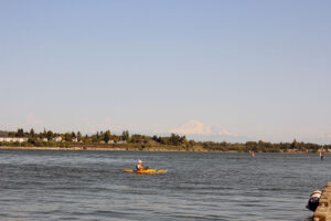 Kayaker in Blaine, Washington with Mt. Baker