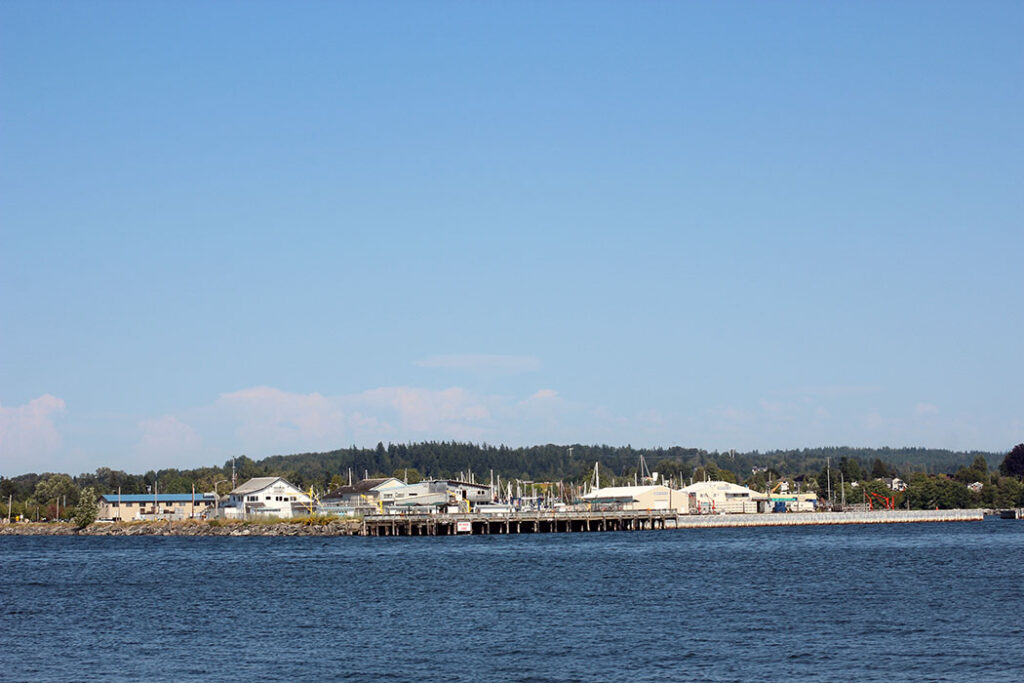 Jorgensen Pier from a distance in Blaine, WA
