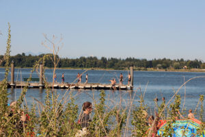Swimmers at the dock in Blaine