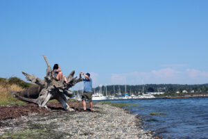 People photographing themselves at Semiahmoo beach