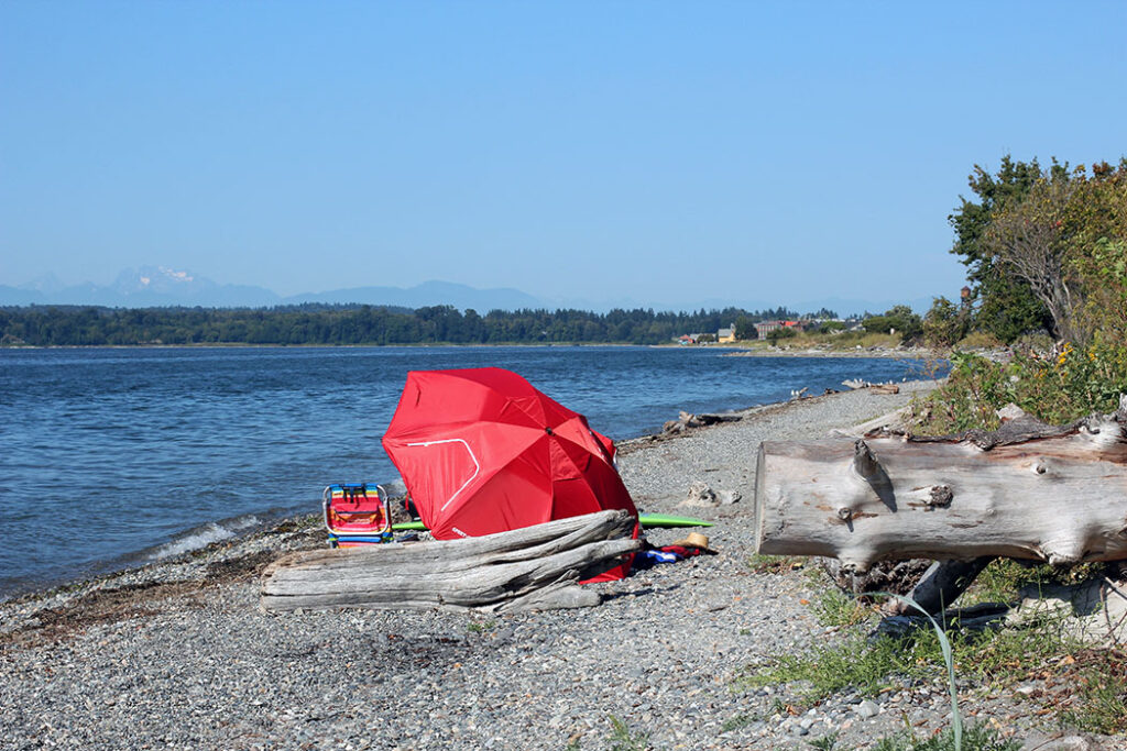 beach at Semiahmoo next to Canadian border overseeing White Rock