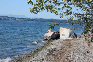 girls tanning at Semiahmoo beaches in Blaine, WA