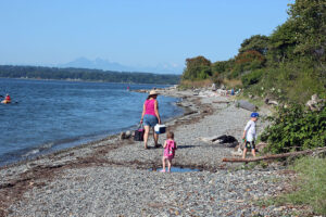 families picnic on the beaches of Semiahmoo Spit