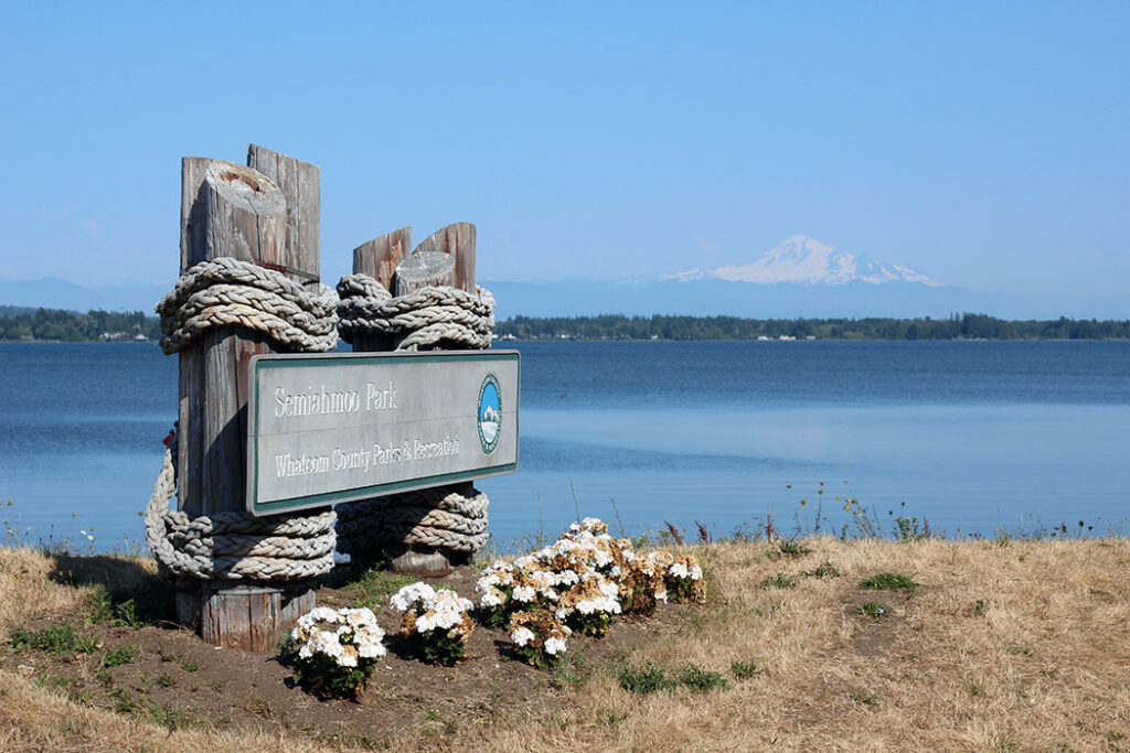 Semiahmoo Signage with Mt. Baker in the background