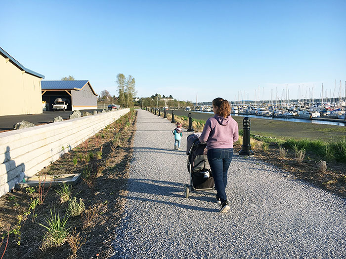 family enjoying a walk at the new Semiahmoo Trail