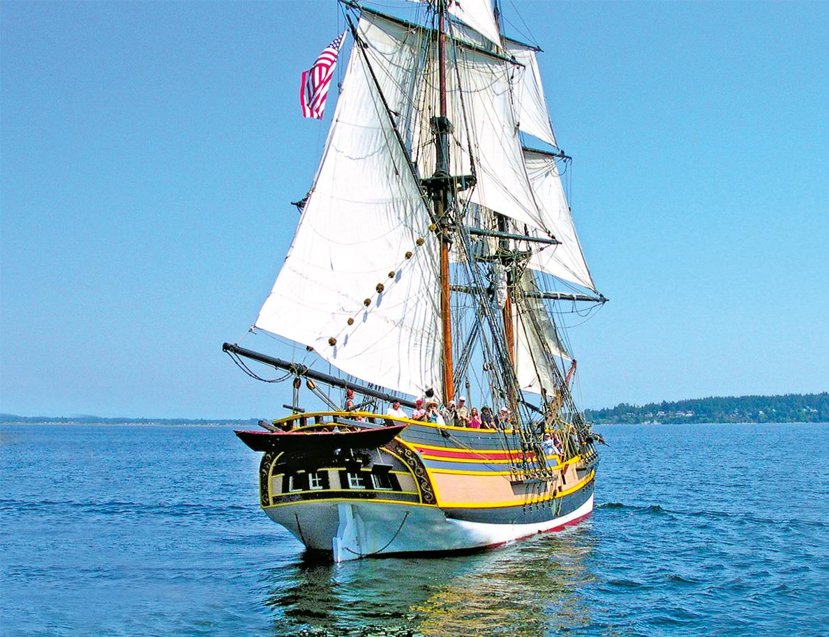 Tall Ship Lady Washington Sailing Semiahmoo Bay in Blaine WA