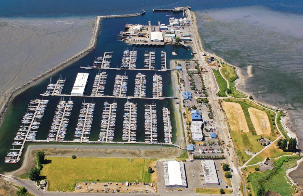 Blaine Marina in Blaine, Washington aerial view