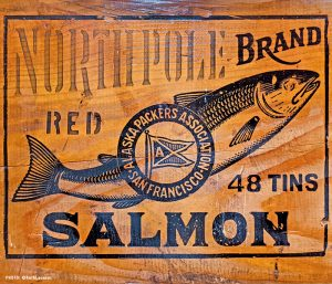 Wood cannery box for packing cans of salmon at Alaska Packers Association in Blaine, WA
