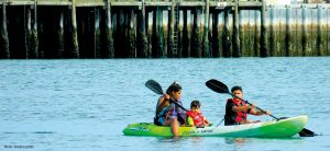 Kids kayaking by Semiahmoo Resort in Blaine WA
