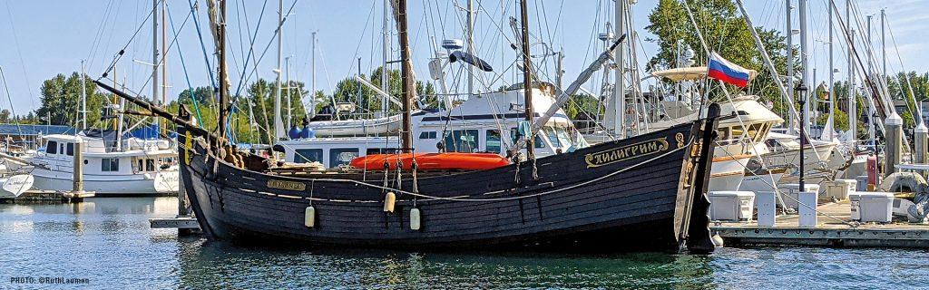 """Pilgrim"" a 18th Century Russian Wooden Ship visits Blaine Marina in Blaine WA"