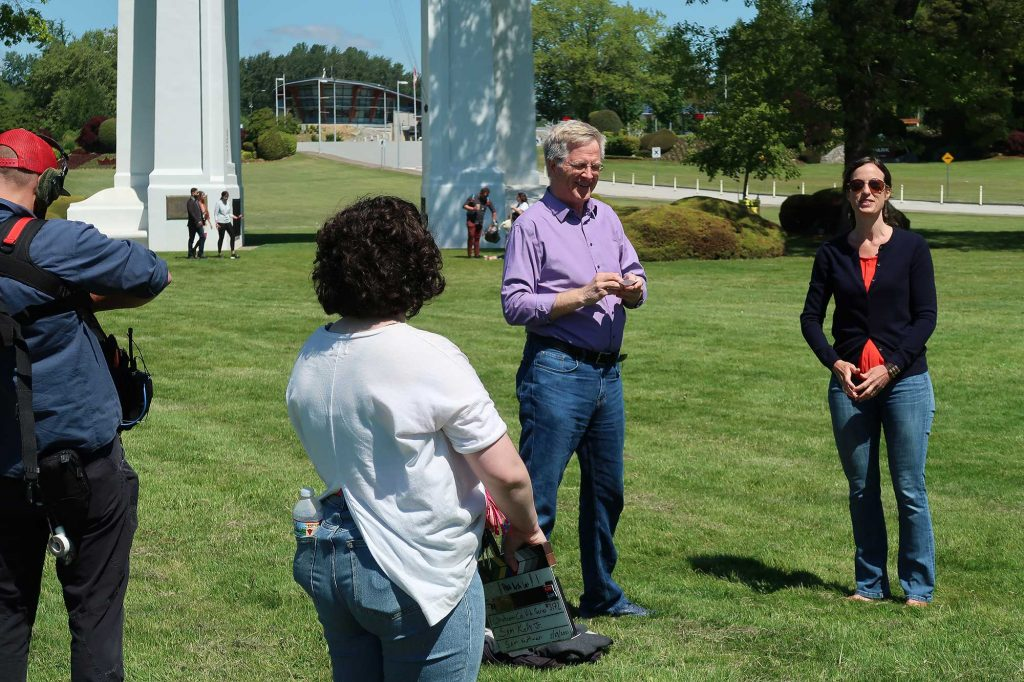 Rick Steves Filming at Peace Arch State Park in Blaine WA
